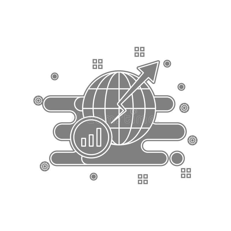 global, Kugel, Wachstum, Diagrammikone Element von popicon für bewegliches Konzept und Netz Appsikone Glyph, flache Ikone für Web vektor abbildung