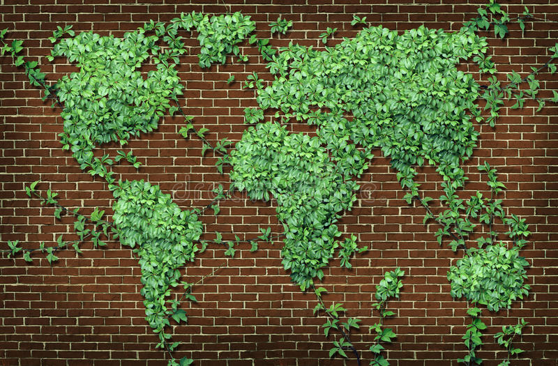 Global Leaf Map. In the shape of growing green vine plant on a red brick wall as a world concept of network connections with the Americas and Europe and Africa vector illustration