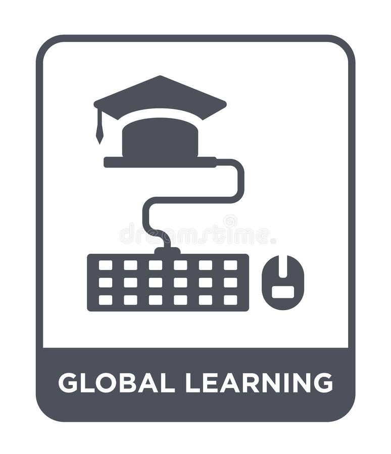 Global learning icon in trendy design style. global learning icon isolated on white background. global learning vector icon simple. And modern flat symbol for royalty free illustration