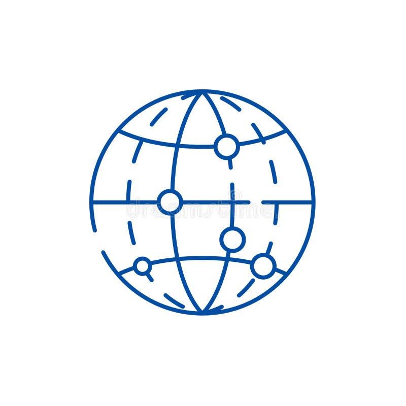 Global linje symbolsbegrepp för datakryptering Globalt symbol för vektor för datakryptering plant, tecken, översiktsillustration stock illustrationer