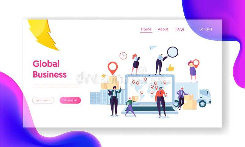 Global Logistic Business Team Cooperation Landing Page. Female with Geotag Symbol stay on Delivery Trailer. Worldwide vector illustration