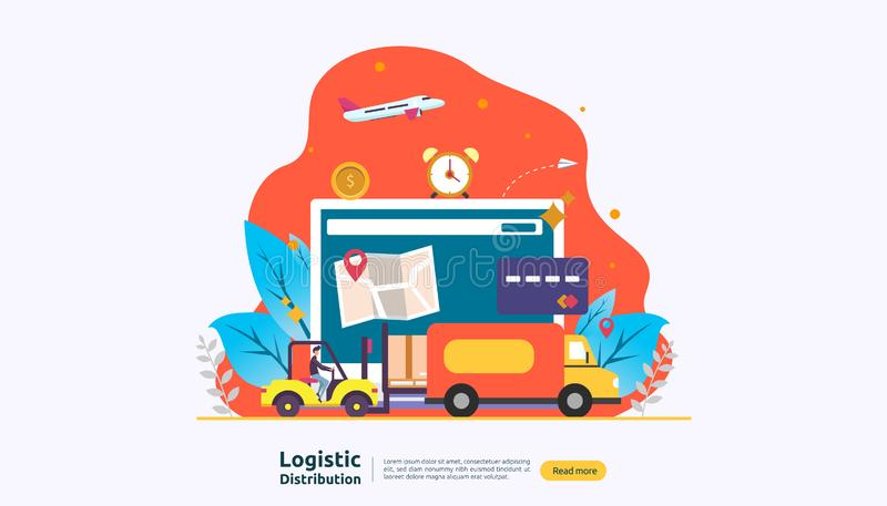 Global logistic distribution service illustration concept. delivery worldwide import export shipping banner with people character. For web landing page stock illustration