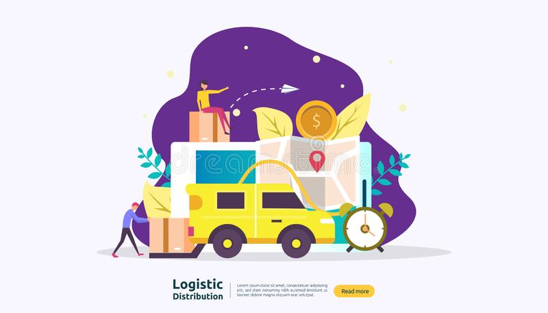 Global logistic distribution service illustration concept. delivery worldwide import export shipping banner with people character. For web landing page royalty free illustration