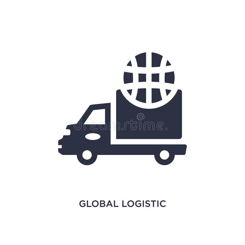 global logistic icon on white background. Simple element illustration from delivery and logistics concept stock illustration