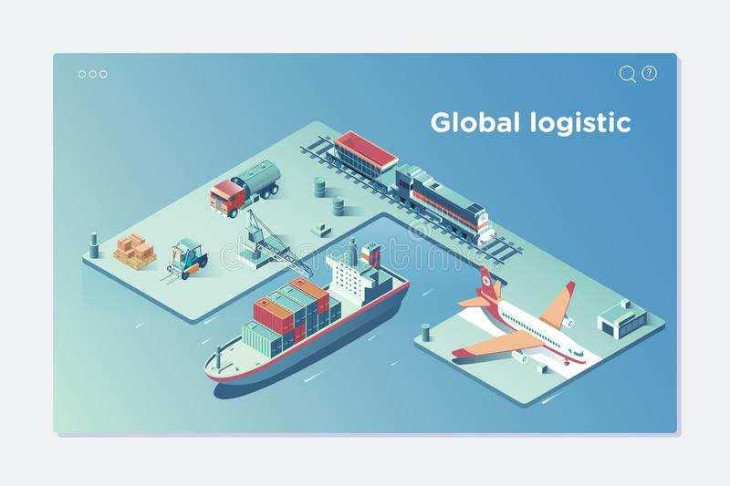 Global Logistic Isometric Vehicle Infographic.Concept of air cargo trucking rail transportation maritime shipping On stock illustration