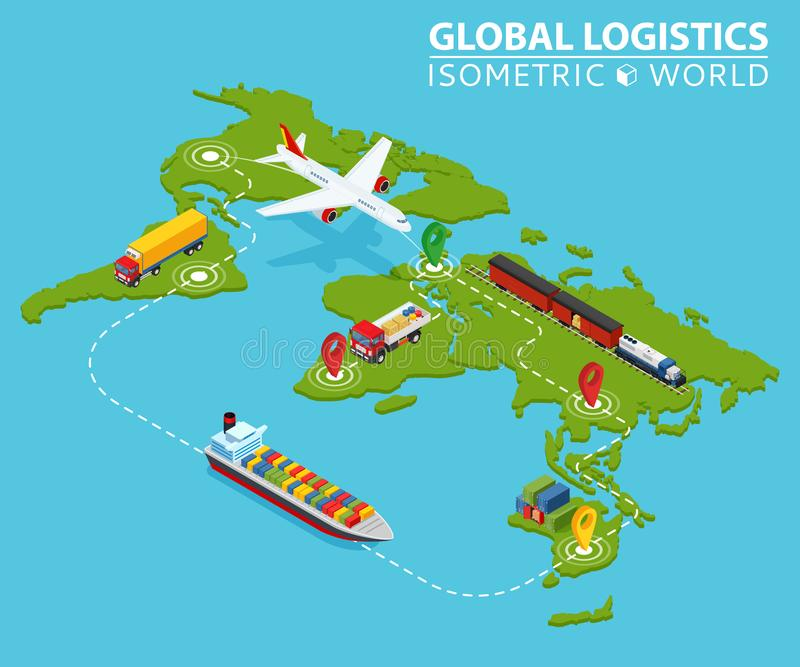 Global Logistic Isometric Vehicle Infographic. Ship Cargo Truck Van Logistics Service. Import Export Chain. Ensured vector illustration