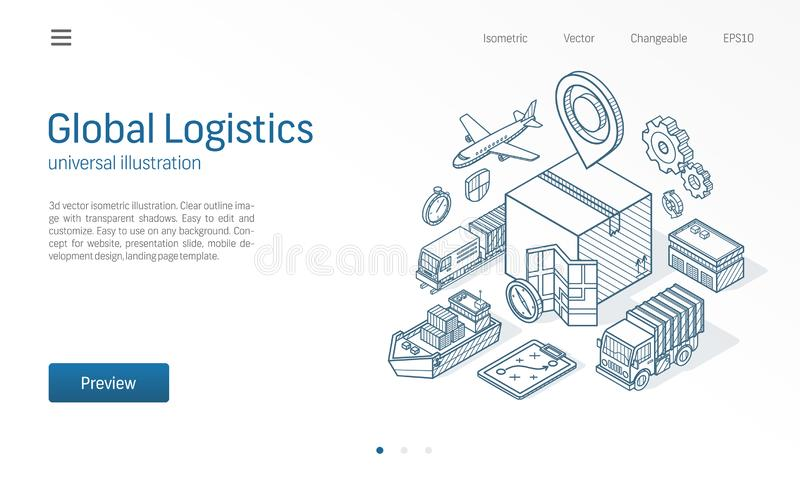 Global logistic service modern isometric line illustration. Export, import, warehouse business, transport sketch drawn royalty free illustration