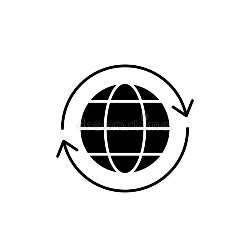 Global logistics black icon, vector sign on isolated background. Global logistics concept symbol, illustration. Global logistics black icon, concept vector sign vector illustration