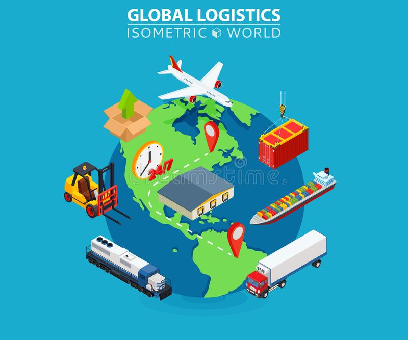 Global Logistics cargo delivery flat 3d isometric pixel art modern design royalty free illustration