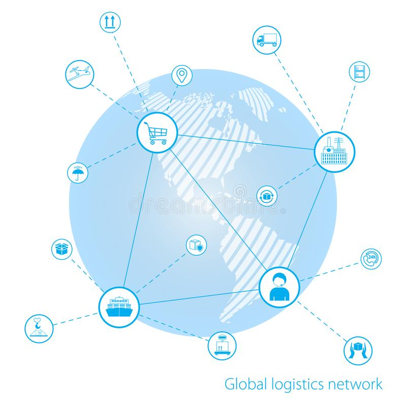 Global logistics network. Global business connection technology interface global partner connection. White similar world map. Flat design. Vector illustration vector illustration