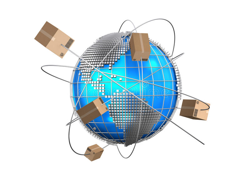 Global logistics network, cargo shipping, import-export commercia royalty free illustration