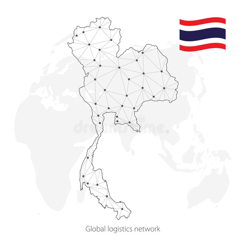 Global logistics network concept. Communications network map Kingdom of Thailand on the world background. Map of Thailand with nod. Es in polygonal style and stock illustration