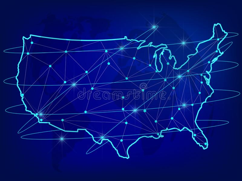 Global logistics network concept. Communications network map of the USA on the world background. USA map with nodes in polygonal s. Tyle. Vector illustration vector illustration