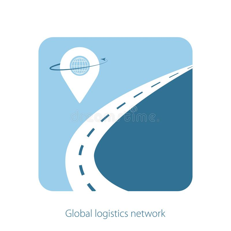 Global logistics network concept. The road with geolocation icons on blue background. Logistic template for your web site design royalty free illustration