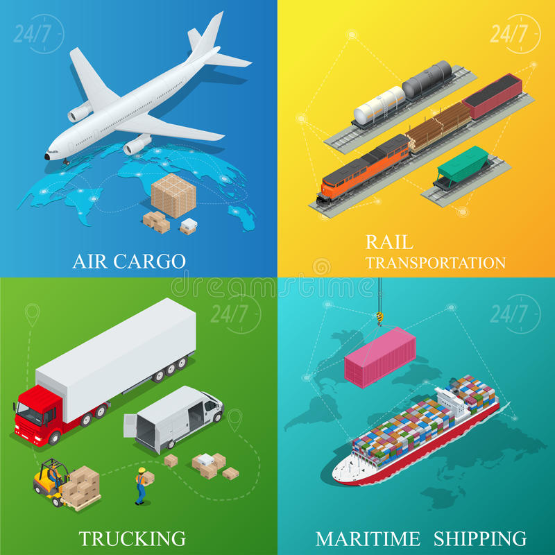 Global logistics network. Flat 3d isometric vector illustration. Set of air cargo trucking rail transportation maritime stock illustration