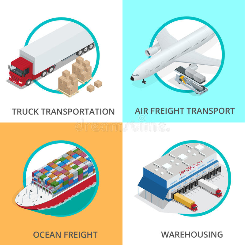 Global logistics network Flat 3d isometric vector illustration Set of air cargo trucking rail transportation maritime royalty free illustration