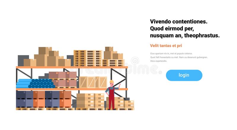 Global logistics network loader man box rack terminal delivery goods loading warehouse interior international shipping. Concept flat horizontal copy space stock illustration
