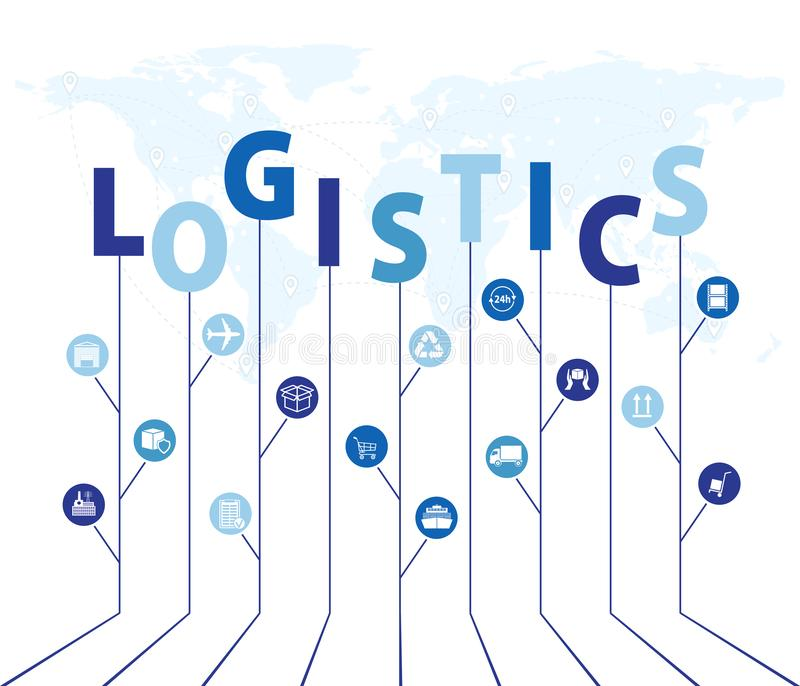 Global logistics network. Map global logistics partnership connection. Growth tree idea with global logistics network concepts. B. Lue similar world map and vector illustration
