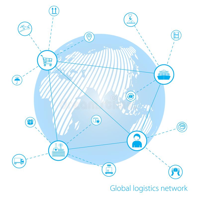 Global logistics network. Map global logistics partnership connection. Global business connection technology interface global par. Tner connection. White similar vector illustration