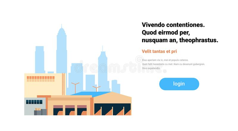 Global logistics network terminal delivery stock loading warehouse international shipping concept cityscape background. Flat horizontal copy space vector vector illustration