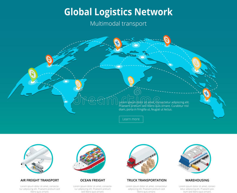 Global logistics network Web site concept Flat 3d isometric vector illustration Air cargo trucking rail transportation. Maritime shipping On-time delivery stock illustration