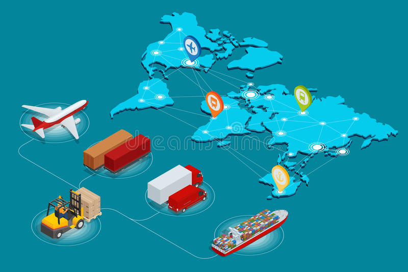 Global logistics network Web site concept Flat 3d isometric vector illustration Air cargo trucking rail transportation royalty free illustration