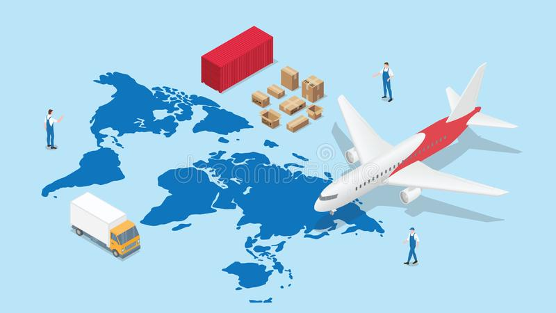 Global logistics network with world map and transportation plane and truck container with modern isometric style royalty free illustration