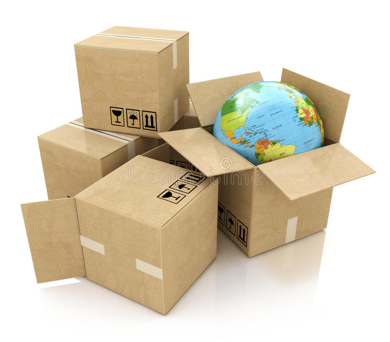 Global logistics, shipping and worldwide delivery business concept: Earth planet globe and heap of stacked corrugated cardboard b royalty free illustration