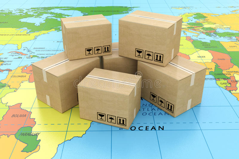 Global logistics, shipping and worldwide delivery business concept: heap of stacked corrugated cardboard boxes with parcel goods. On the world map royalty free illustration