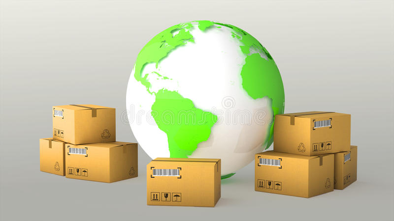 Global logistics, shipping and worldwide delivery business concept: blue Earth planet globe surrounded by heap of stacked stock illustration