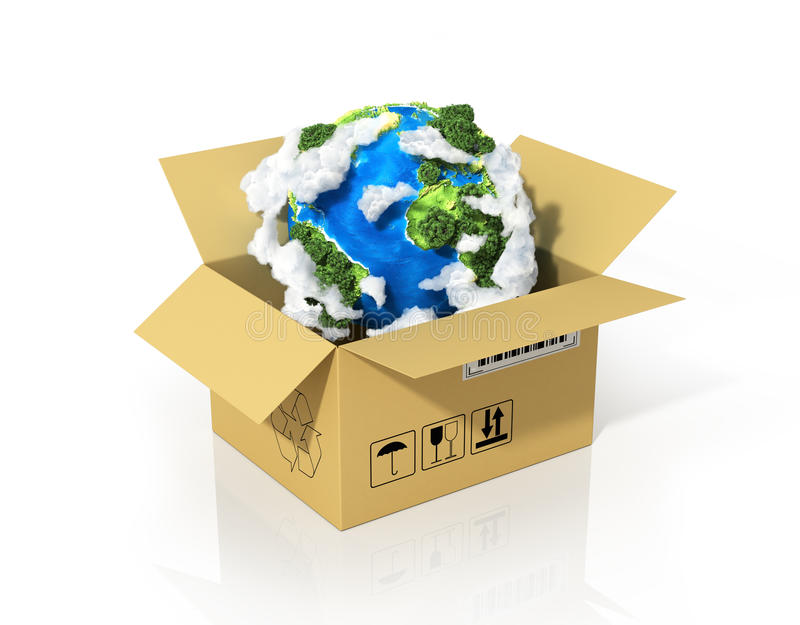 Global logistics, shipping. And worldwide delivery business concept. Green planet Earth in the cardboard box. Ecology concept stock illustration