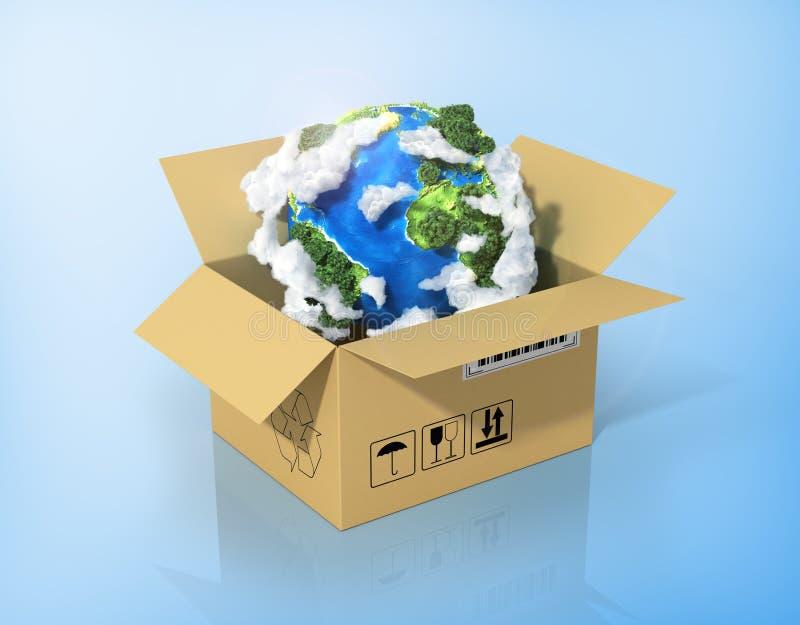 Global logistik, sändnings och världsomspännande leveransaffär royaltyfri illustrationer
