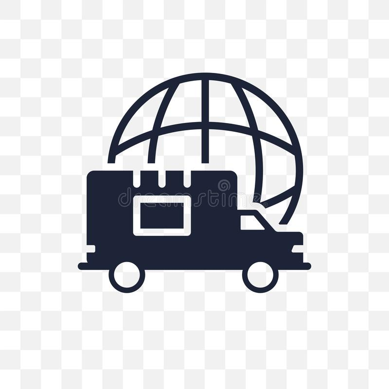 Global logistisk genomskinlig symbol Global logistisk symboldesign stock illustrationer