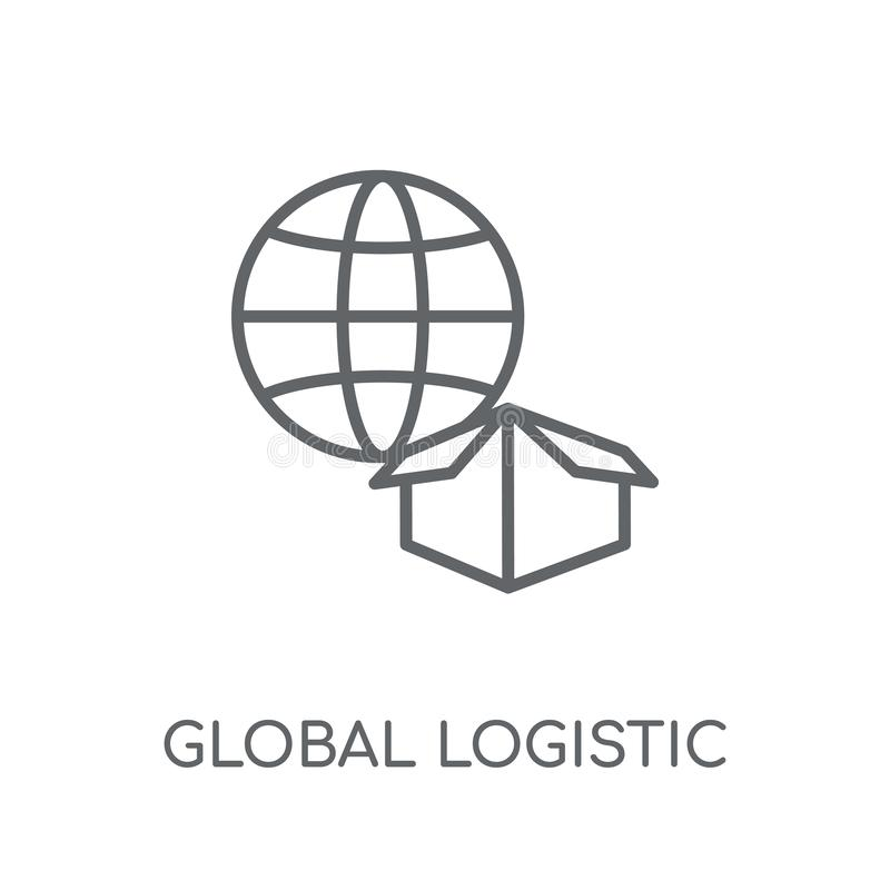 Global logistisk linjär symbol Global logistisk logo för modern översikt vektor illustrationer
