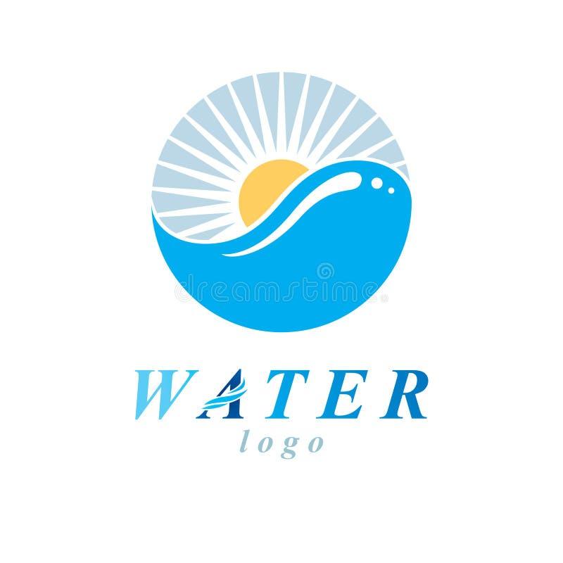 Global logotyp f?r vattencirkulationsvektor f?r bruk i brunnsort- och semesterortorganisationer royaltyfri illustrationer