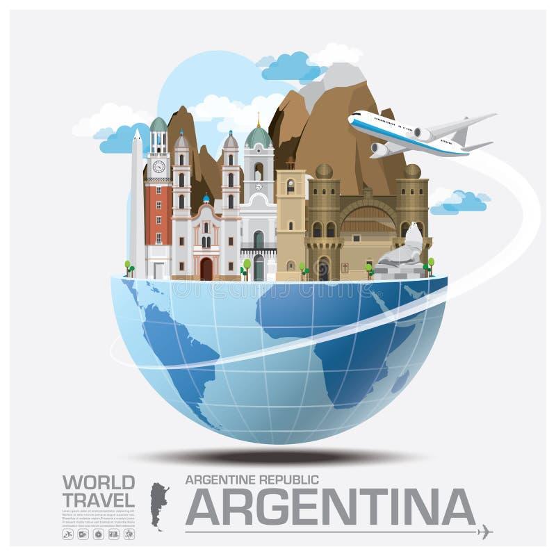 Global lopp och resa Infographic för Argentina gränsmärke royaltyfri illustrationer