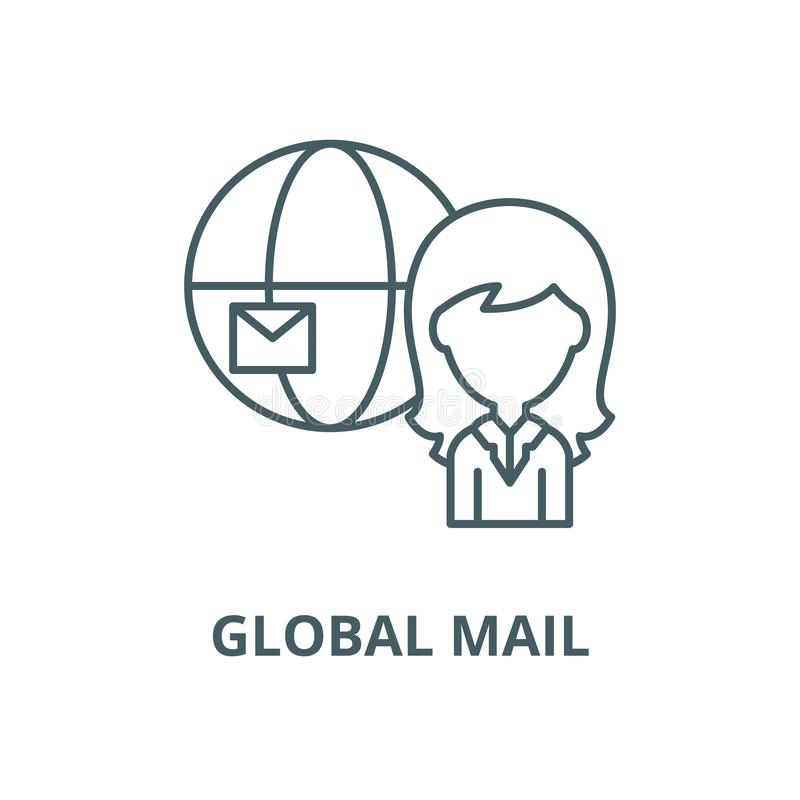 Global mail vector line icon, linear concept, outline sign, symbol. Global mail vector line icon, outline concept, linear sign vector illustration