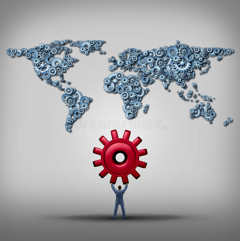 Global Management. Business concept as a businessman lifting up a red gear facing a group of gears and cog wheels shaped as a world map as a success metaphor vector illustration