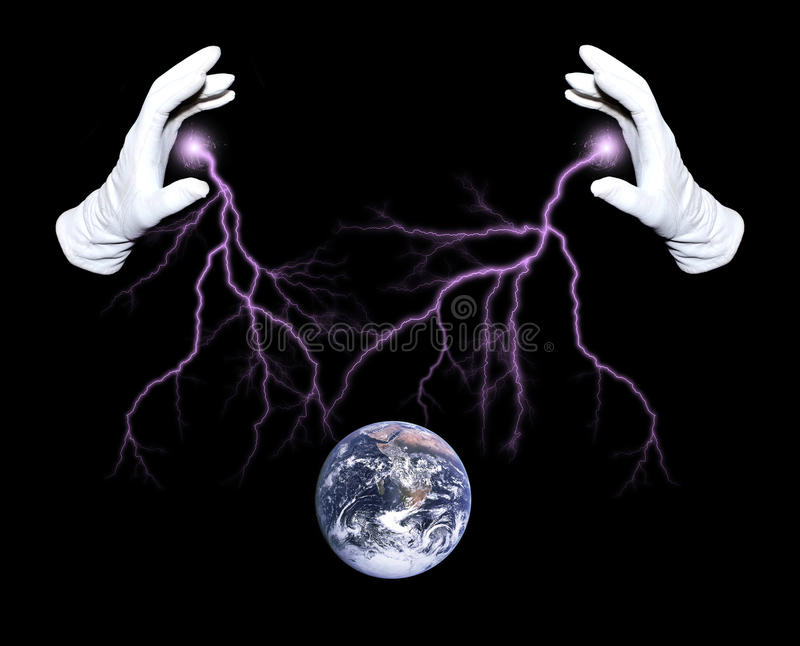 Global manipulator. Hands of illusionist making passes above Earth surface stock image
