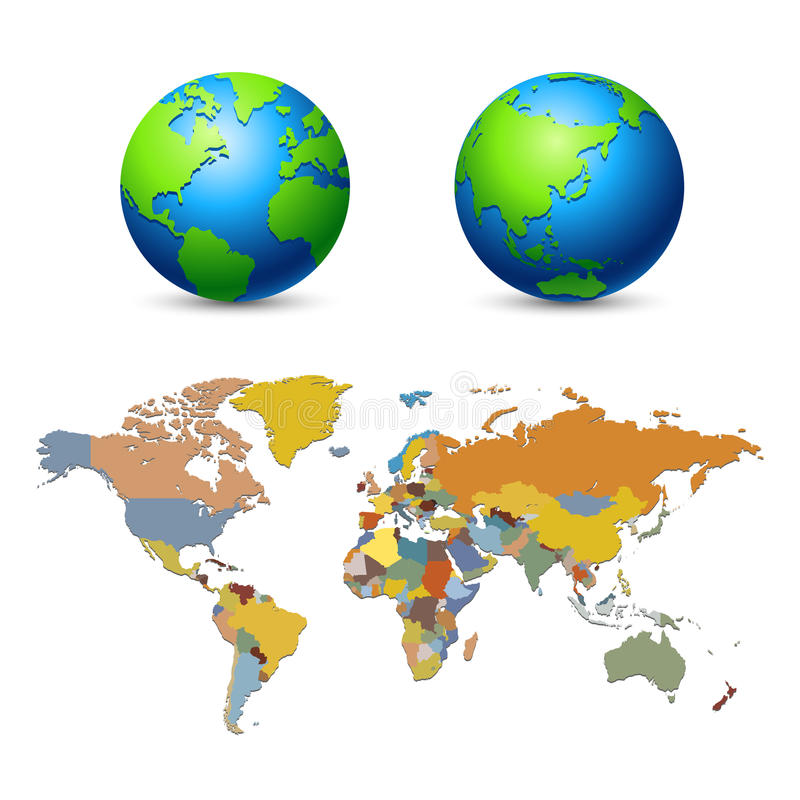 Global Map. Global in fresh color and earth tone world map seperate country vector illustration