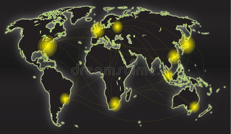 Global map. The global map of the world with the designation of the main financial centers and stylized financial flows vector illustration