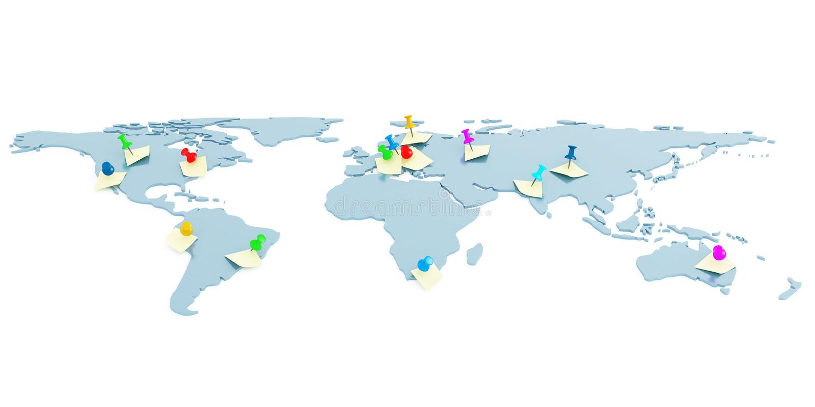 Global map. With attached pins and stickers stock illustration