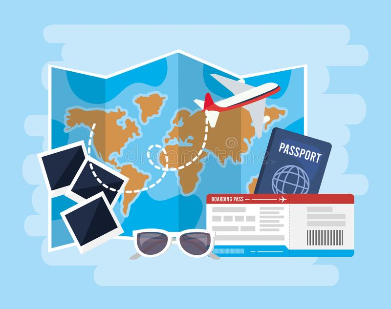 Global map with airplane and passport with tickets. Vector illustration royalty free illustration