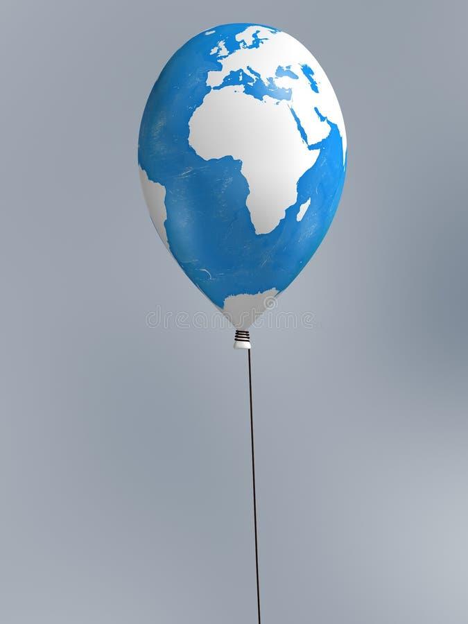 Global map balloon. Africa global map balloon on blur background stock illustration