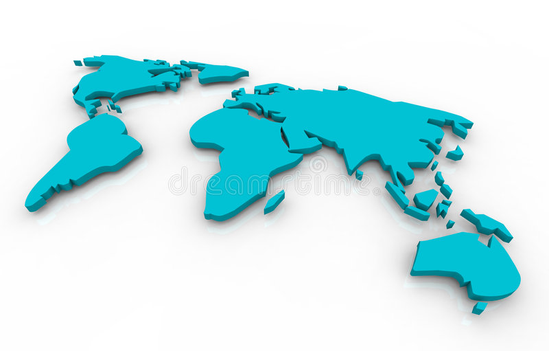 Global map - blue on white background. A blue map of the world floating on a white background vector illustration