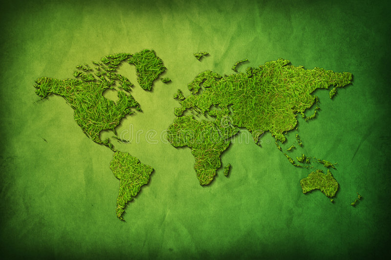 Global map with grass texture royalty free illustration