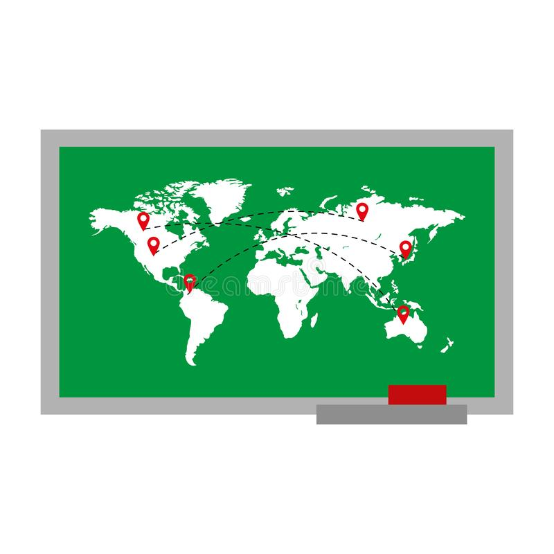 Global map with locations symbols destinations. Vector illustration stock illustration
