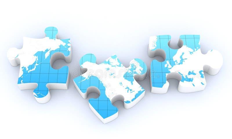 Global map puzzles. Communication on white royalty free illustration