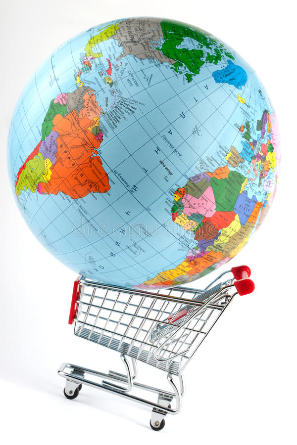 Global Market. Globe with cart on the white stock image