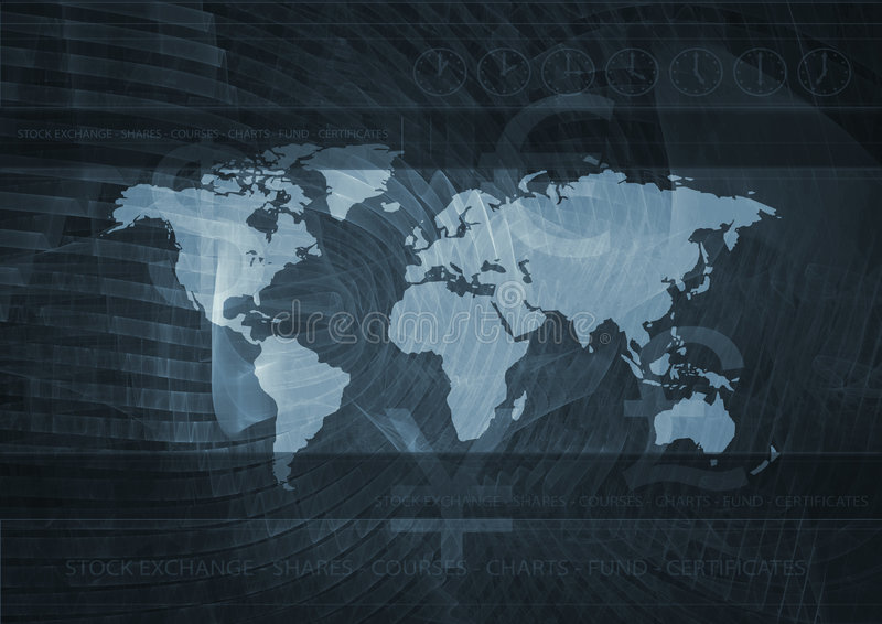 Global market. Business background of world map and stock market related elements
